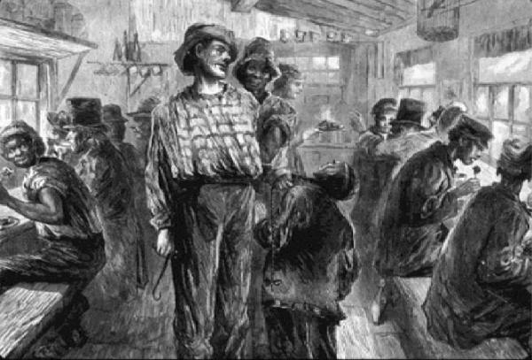 A waterfront tavern in the 1800's. Food was provided free, as long as one drank house brew as well. Then as now, a plethora of nationalities jostled ashore. The bully longshoreman with his hook harasses the Chinaman as the African mediates.